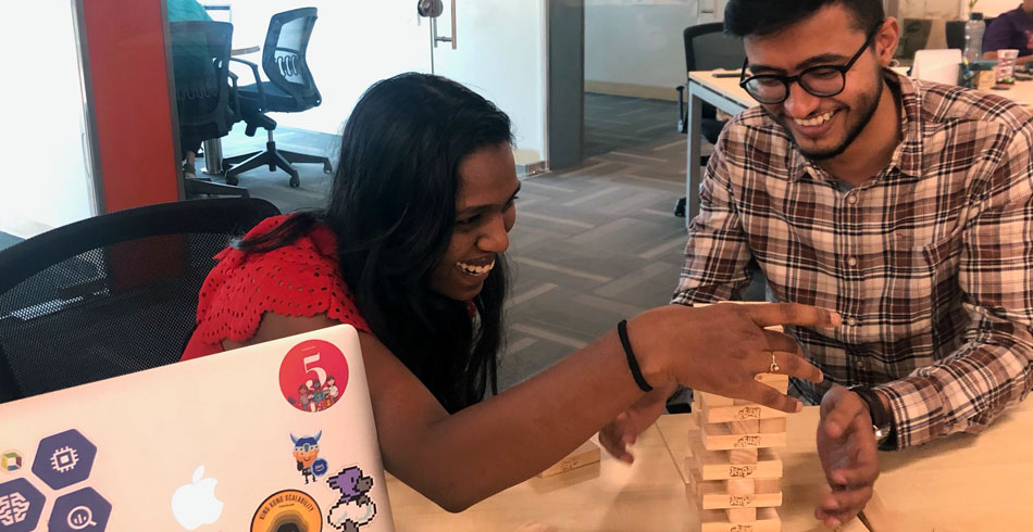 Always time for some chuckles and Jenga at the Pune office